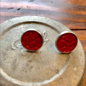 handmade Jewelry - Leather Earrings stud glossy red croc reptile